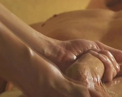 Exotic golden-haired mummy strokes it
